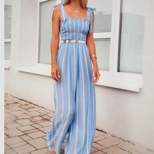 H&M smocked baby blue jumpsuit